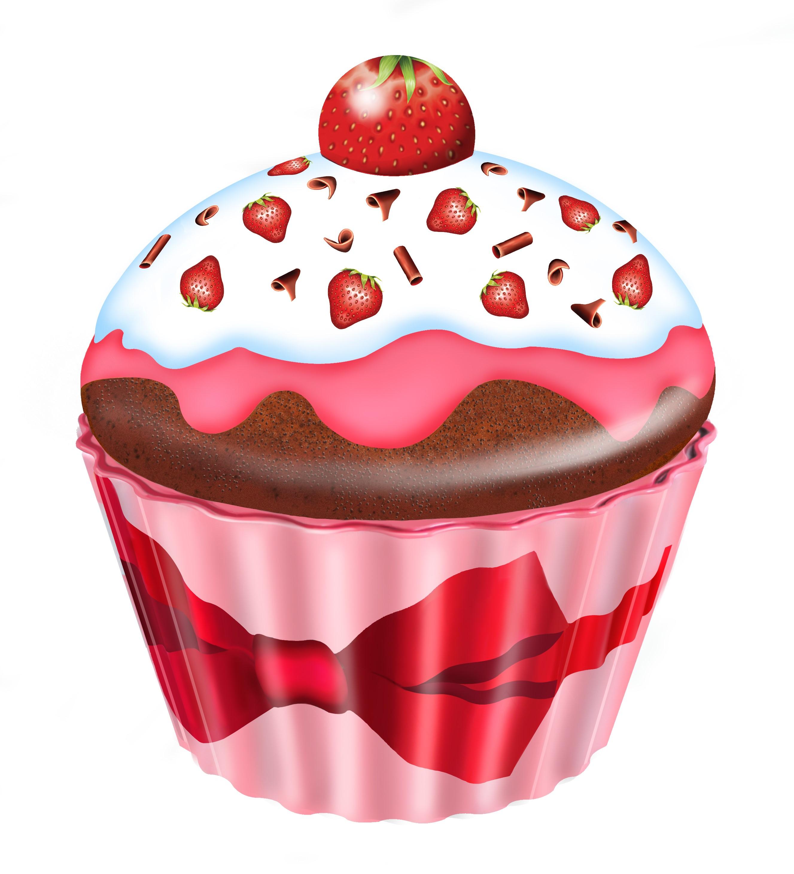 10204 Cupcake groß Erdbeeren